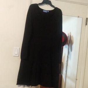 Vera Wang black textured dress